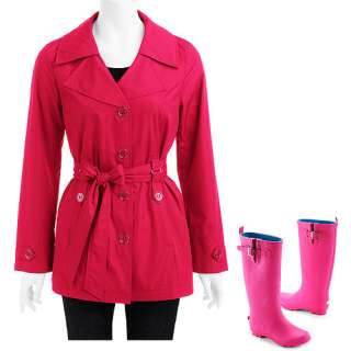 Glory   Womens Trench Coat & Womens Metal Buckle Rain Boots Shoes