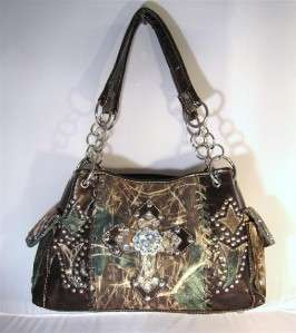 Brown Camo Western Rhinestone Bling Cross Cowgirl Handbag Purse and