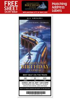 POLAR EXPRESS Birthday Party Ticket INVITATIONS