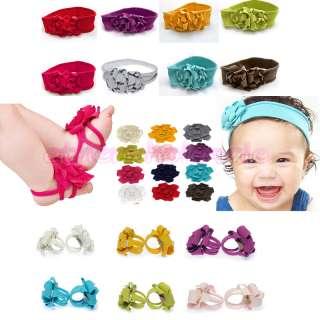 Set 1 PAIR GORGEOUS BABY BOY GIRL FOOT FLOWER PRAM SHOES + 1 HEADBAND