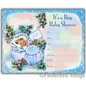 Vintage Retro Baby Boy Blue Bootie Shower Invitations