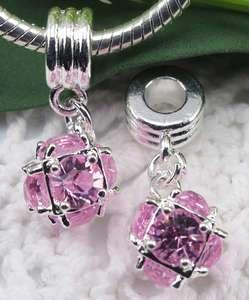 22p Pink crystal ball bead pendant Fit Bracelet f#1089