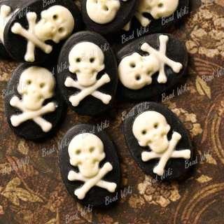 10 Black White Resin Oval Skull Cross Bone Flatback Cabochon Cameo