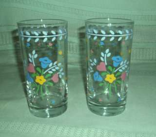 Anchor Hocking Anchor Ware Laurelwood Set of 2 Glasses Blue Pink