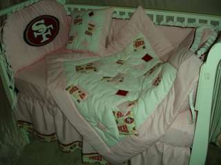 PINK Baby Nursery Crib Bedding Set made with San Francisco 49ers