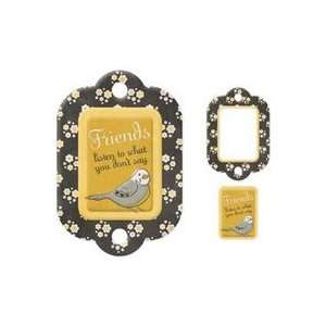 Memory Keepers Embossed Die cut Chipboard Mini Frame Tags friends 12Pk