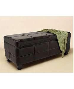 Leather Storage Bench Black