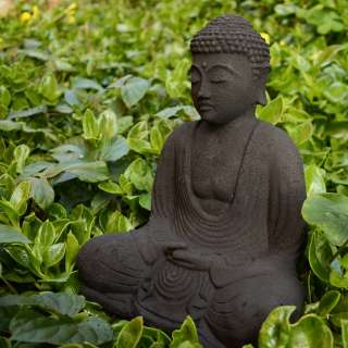Black Stone Garden Buddha Sculpture (Indonesia)