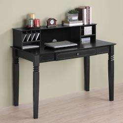 Solid Wood Black Desk and Hutch