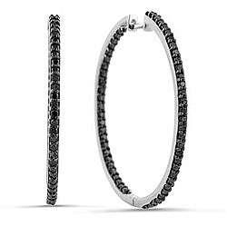 10k White Gold 1ct TDW Black Diamond Hoop Earrings