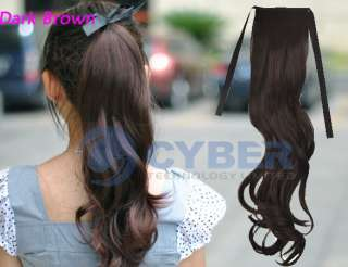 Long Wavy Curly Ponytail Pony Synthetic Fiber Hair Extensions Good