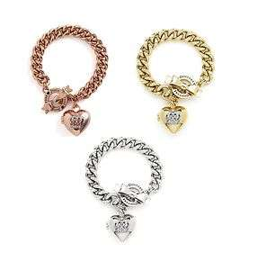 JUICY COUTURE BOW TOGGLE HEART CROWN ICON BRACELET LOCKET CHARM W