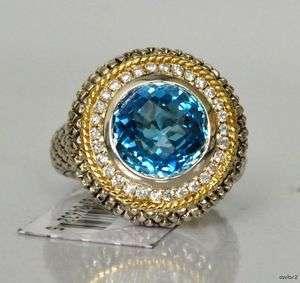 New $1280 Blue Topaz Diamond Ring ANDREA CANDELA 7 Sale