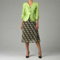 Dana Kay Womens Yuryu Solid and Shantung Skirt Suit  Overstock