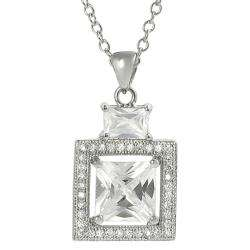 Tressa Silvertone Pave set Cubic Zirconia Necklace