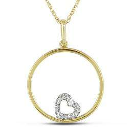 Yellow Gold Diamond Accent Heart and Circle Necklace