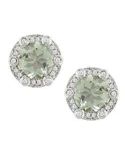 14k Gold 1/5ctw Diamond Green Amethyst Earrings