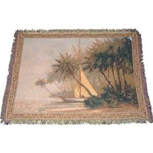 Leaving Out Tapestry Woven Throw Blanket   Palm Tree Tropical