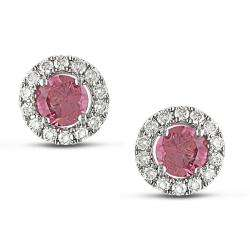 14k White Gold 1/2ct TDW Pink and White Diamond Earrings (G H, SI1