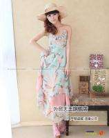 Women Bohemian Chiffon Layered Flower Long Dress #056