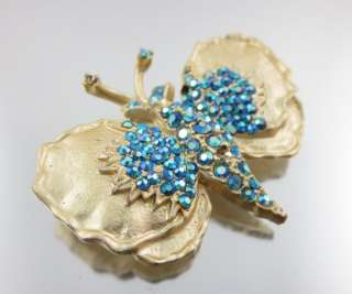 DESIGNER Gold Tone Blue Crystal Butterfly Brooch Pin