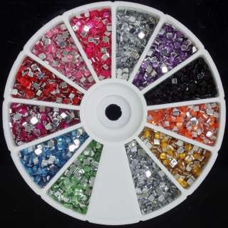 2400 Boxy Rhinestones Gems 12 Color Nail Art Design Wheel 2   3 mm