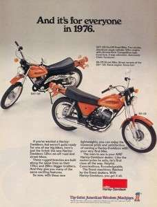 1976 Harley Davidson SS & SXT 125 Motorcycle Original Color Ad