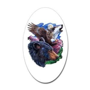 Sticker (Oval) Bear Bald Eagle and Wolf: Everything Else