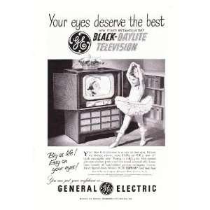 Ad GE Black Daylite Television Ballerina Original Vintage TV Print Ad
