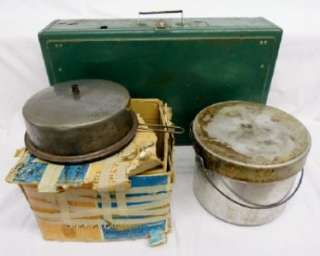 Camping Lot Coleman Stove 413F Vintage 2 Burner Cook Kit 4 Collectible