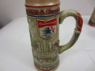 Nice Budweiser Lot 3 Olympic Beer Steins Collection Set 1984