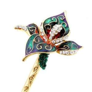 Crystalmood LUX Enamel Blooming Flower Swarovski Rhinestone Hair Stick