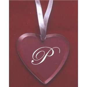 Glass Heart Ornament with the Letter P