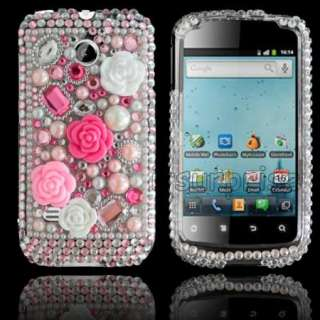 Bling Diamond Pink Rose Hard Case Cover For Huawei Ascend II 2 M865