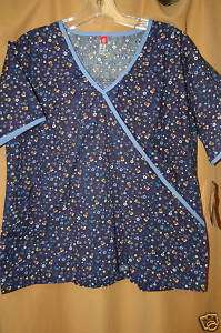 Dickies scrubs print top Daisy 100% cotton BLUE XS NEW