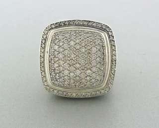 DAVID YURMAN STERLING SILVER 20mm DIAMOND ALBION RING