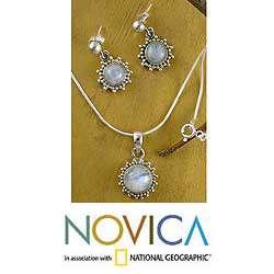 Silver Goddess Moonstone Jewelry Set (India)