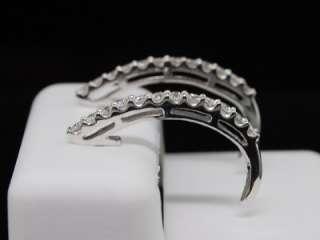 LADIES 14K WHITE GOLD ROUND DIAMOND EARRINGS HOOPS .5CT