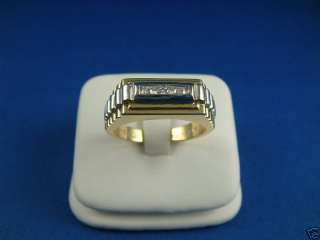 HANDSOME 14K TWO TONE GOLD AND DIAMONDS MENS RING