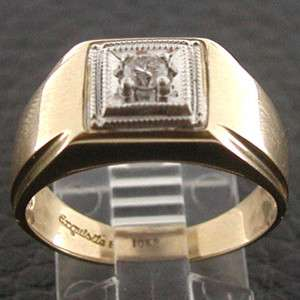 Yellow Gold Mens Artistic Square Diamond Solitaire Band Ring