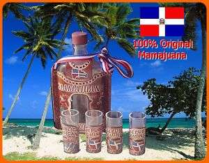 ORIGINAL MAMAJUANA DECORATIVE SET BOTTLE & SHOT GLASSES