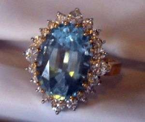 WOMENS YELLOW GOLD COCKTAIL RING~1 TOPAZ/20 DIAMONDS