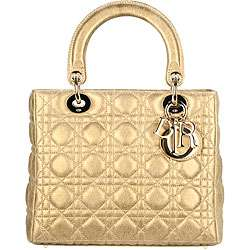 Lady Dior Metallic Gold Classic Small Tote Bag