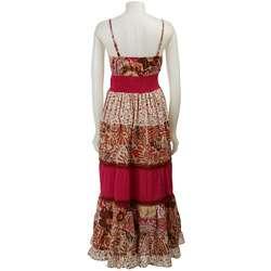 FINAL SALE Magic Womens Pink/ Multicolor Surplice Maxi Dress