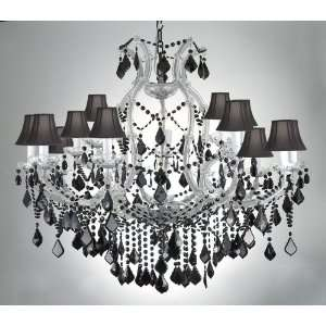 MARIA THERESA CHANDELIER CRYSTAL LIGHTING H38 W37 JET BLACK CRYSTAL