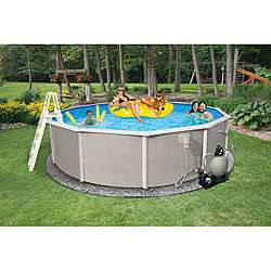 Belize Above Ground 18 foot Round Swimming Pool Package