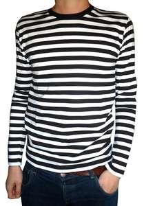 Mens Stripey t shirt tee black white nautical indie mod Top striped