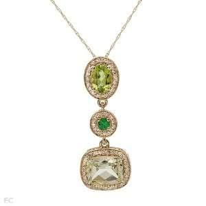 14K Yellow Gold 0.83 CTW Peridot and 1.63 CTW Quartz Ladies Necklace