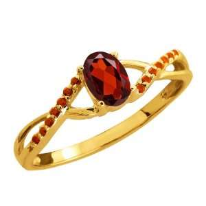 0.63 Ct Oval Red Garnet and Cognac Red Diamond 14k Yellow