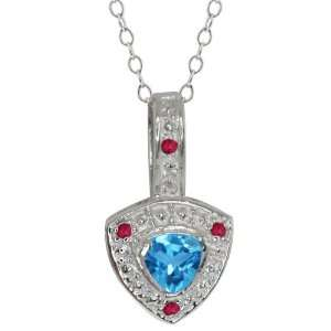 0.61 Ct Trillion Swiss Blue Topaz and Red Garnet Sterling